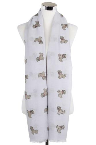 Adorable Cute Pug Dog Large Soft 100 /% Cotton Wrap Scarf  Frayed edging
