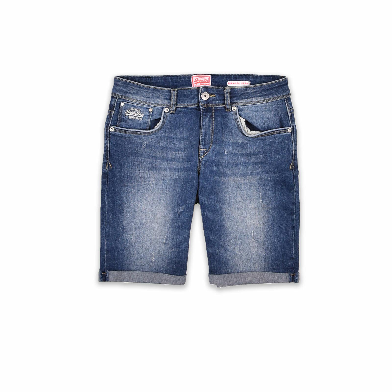 Superdry Damen Shorts Hose Freizeithose Sommer Gr.W30 Jeans Bermuda Blau 97550