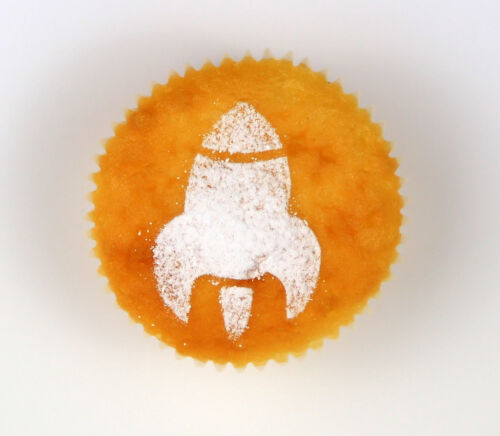 Rocket Cookie Cupcake Stencil diamètre 7 cm sécurité alimentaire LAVABLE ET RÉUTILISABLE