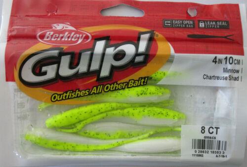 "8//Ct Pack BERKLEY GULP 4/"" Minnow - Chartreuse Shad"