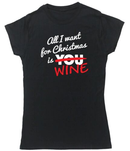 All I want for Christmas is wine t-shirt fitted short sleeve womens