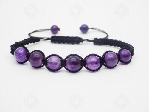 Perlas Natural Piedra Amatista Pulsera Piedras Preciosas Curación Reiki Elástico Regalo UK