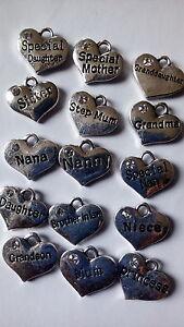 4 colgantes del encanto del corazón Familia Tema De Bebé Tibetana Antiguo Rhinestone encantos  </span>
