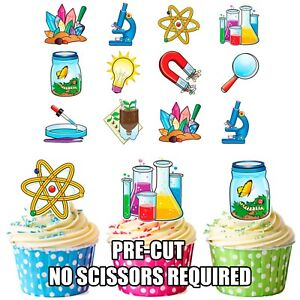 Details About PRECUT Science Party Themed Edible Cupcake Toppers Birthday Cake Decorations