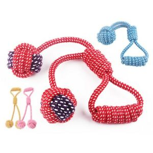 Pet Puppy Dog Cotton Braided Rope Chew Toys Tug Knot Ball Teeth Clean Play Toy