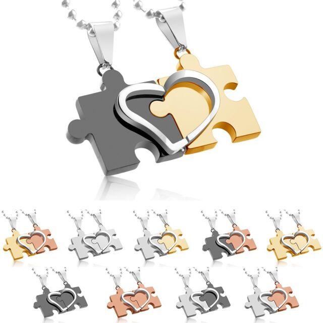 Paar-Anhänger Puzzle Herz Edelstahl Schmuck zweifarbig einfarbig mit zwei Ketten
