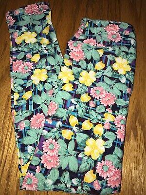 BoxII LuLaRoe Kids Leggings L//XL New Pink W// Green Triangles /& Floral