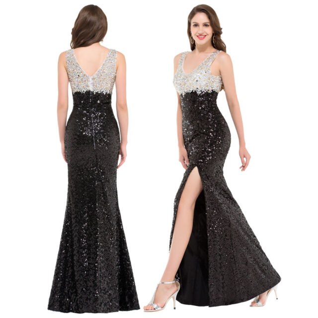 Cryltal Sequins Evening Bridesmaid Dress Formal Party Wedding Long Pageant Gown