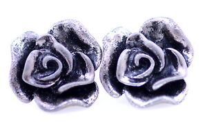 Vintage-style-antique-silver-coloured-rose-flower-stud-earrings