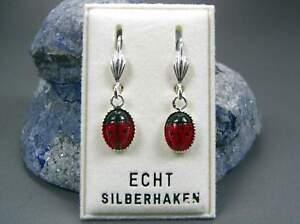 Aktiv Neu 925 Silber OhrhÄnger Mit MarienkÄfer In Rot/schwarz Ohrringe Um Zu Helfen, Fettiges Essen Zu Verdauen