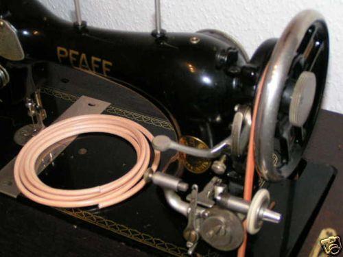 Lederriemen 5 mm mit  Klammer für alte Nähmaschine, 2 m Antriebsriemen