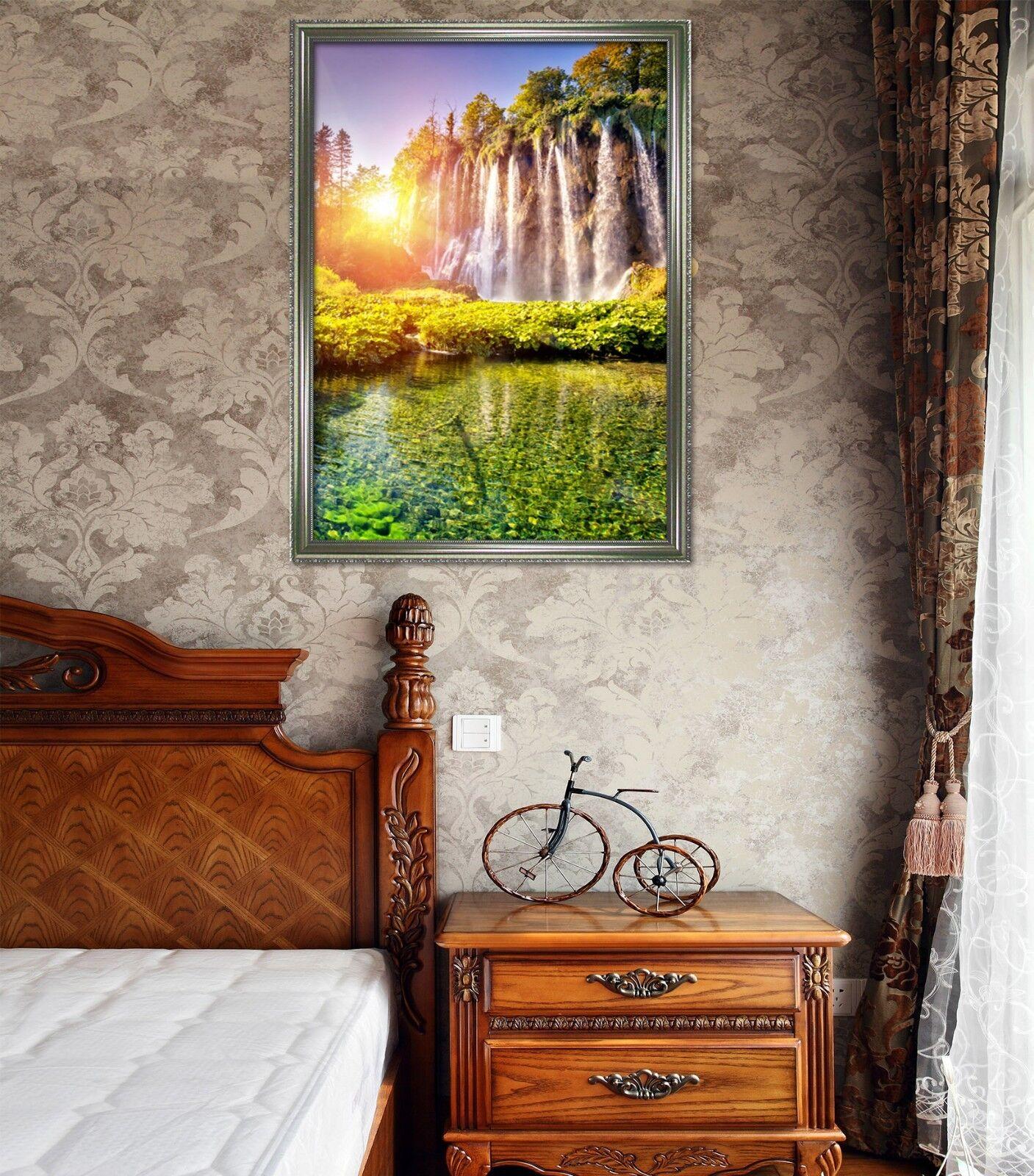 3D Sunset Lake Water 51 encadrée Poster Home Decor imprimer peinture art AJ UK