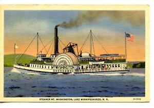 Details about  /Postcard NH Lake Winnipesaukee Washington II at The Weirs Linen Steamer Mt