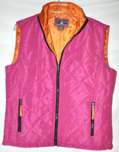 America Pink Puffy Vest Zip-Up w// Orange Lining /& Zip Pockets Women/'s XL NWOT J