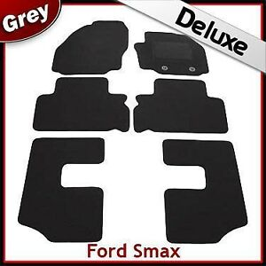 Ford S-Max 7 plazas Mk1 2006-2015 Clips Oval adaptada Lux 1300g Car Mats Negro