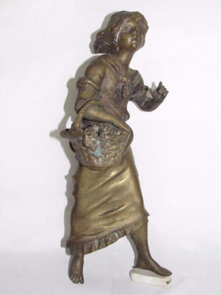 08d29 Antigua Bronce Mujer Cesta Arte Nuevo Para Reloj