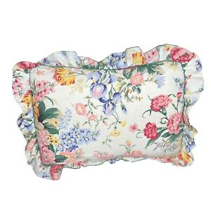 Vintage-CANNON-Pillowcase-Standard-Size-Pink-Blue-Yellow-Floral-w-Ruffles