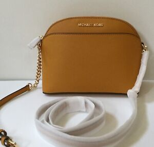 Details about NWT MICHAEL KORS JET SET TRAVEL Leather MD Dome Crossbody Bag in Marigold.