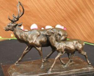 Garden-Ornaments-Extra-Large-Deer-Stag-100-Real-Bronze-Sculptures-Figurine-NR