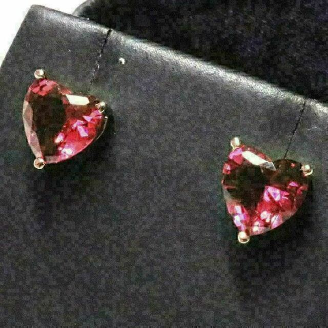 2 Ct Red Ruby Heart Stud Earring Women Wedding Jewelry 14K Rose Gold Plated