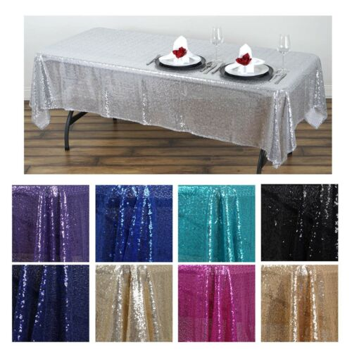 """LUXURY COLLECTION Duchess Sequin Rectangle Tablecloth 60/"""" x 102/"""" For Weddings"""
