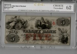 1856-5-The-Valley-Bank-HAGERSTOWN-MD-MD245-G6-Choice-Uncirculated-19-C202