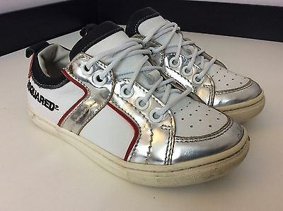 Dsquared2 Ds2 Boys Sneakers, Eu30 Uk 12, White Silver Leather Trainers
