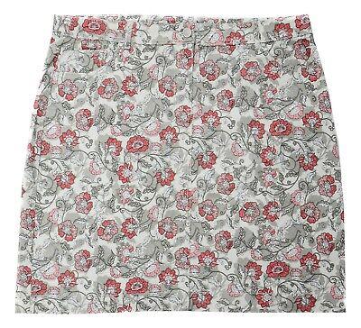 Womens 8-22 New Grey Pink Floral Print Stretch Denim Knee Length Skirt Ladies