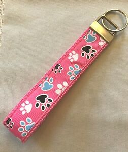 New Key Fob  Wrist Lanyard  Wristlet  Key Chain  Fabric Strap  Paw Print Heart Pet