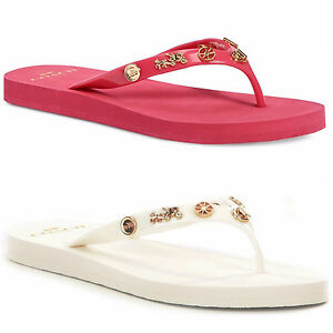 Details about Coach Womens Alyssa Charms Slip On Open Toe Flat Thong Sandals Flip Flops Shoes