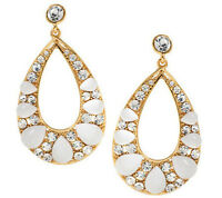 Wendy Williams Cabochon & Faceted Crystal Drop Earrings Goldtone Qvc