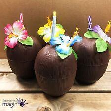 Conjunto de 4 Taza de plástico Tropical Coco Bebida Paja Flor Hawaiana Playa Fiesta