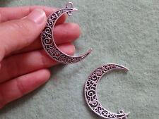 10 large moon pendant charms beads Tibetan tibet silver antique wholesale UN10