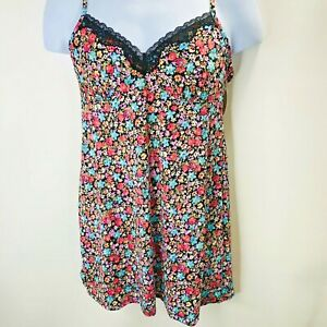 Secret-Treasures-Floral-Black-Satin-And-Lace-Chemise-Nightgown-Lingerie-Dress