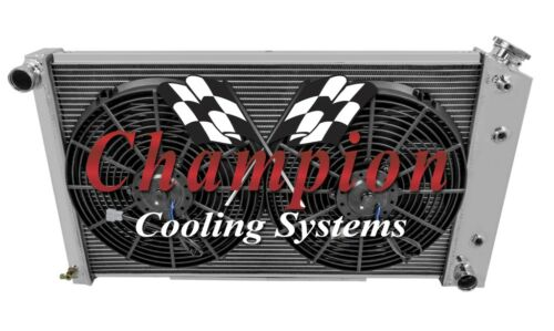 "1978-1987 Buick Regal Aluminum 3 Row Champion Radiator /& 2-12/"" Fans"