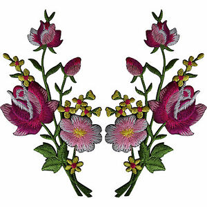 Pair-of-Flower-Embroidered-Patches-Iron-Sew-On-Embroidery-Patch-Arts-and-Crafts