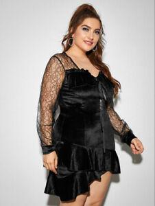 bn shein black gothic lace asymmetrical ruffle dress 16/18