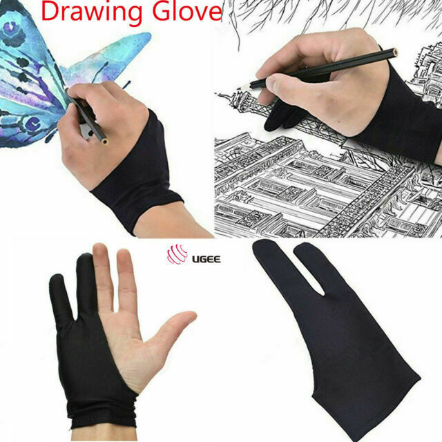 Two Finger Anti-fouling Glove Drawing /& Pen Graphic Tablet Pad Artist Black US