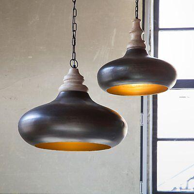 Loft Industrielampe Retro Vintage Hänge Leuchte Decken Lampe Shabby Bauhaus Holz