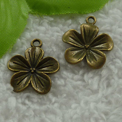 free ship 140 pieces bronze plated flower charms 23x19mm #2915