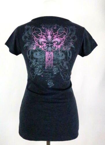 New Women/'s Cotton T-Shirt Gray Pink Fluer de Lis Scrolled Celtic Cross Large L