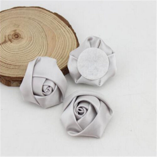 3.5CM Satin Rose Artificial Ribbon Flower For Make Bridal Wedding Bouquet Decor