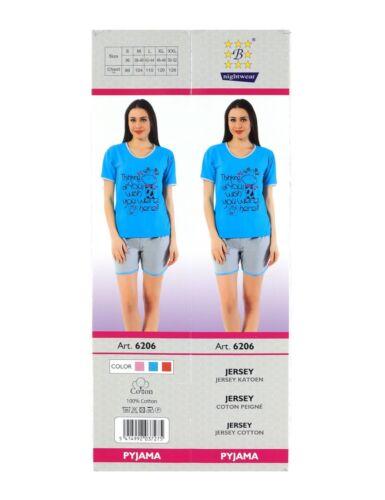 Damen Schlafanzug Shorty Pyjama kurz Baumwolle Set Nachtwäsche 2tlg Hellblau