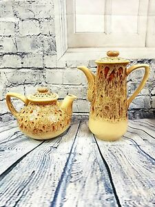 Vintage-Fosters-Cornwall-Pottery-Tea-amp-Coffee-Pot-Honeycomb-Glaze-Shabby-Chic