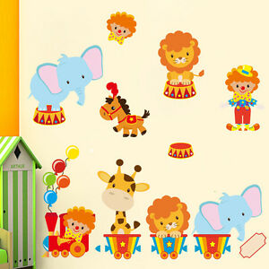 Details zu Wandtattoo Tiere Zirkus Löwe Wandaufkleber Sticker Kinderzimmer  Baby Tapete Deko