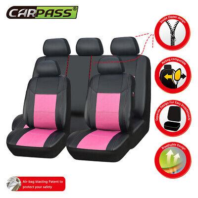 Universal Car Seat Covers Pink For Women Girls 11 Set Leather Rear Split 60 40 Ebay