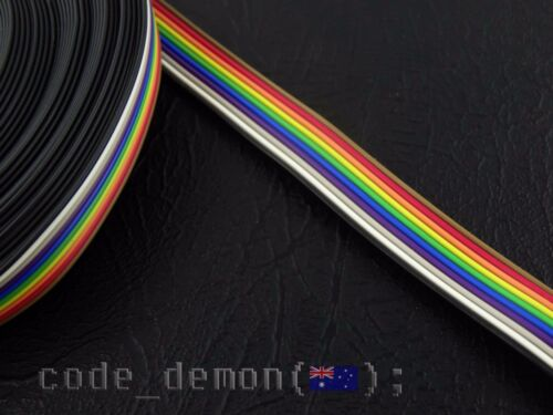 AVR New 10 Pin Rainbow Colour Flat Ribbon Cable 1.27mm Pitch 500mm Arduino