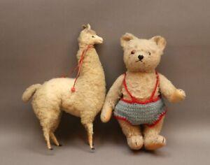 2 antike Stofftiere - wohl Steiff - Lama Alpaka - Teddybär Glasaugen beweglich S
