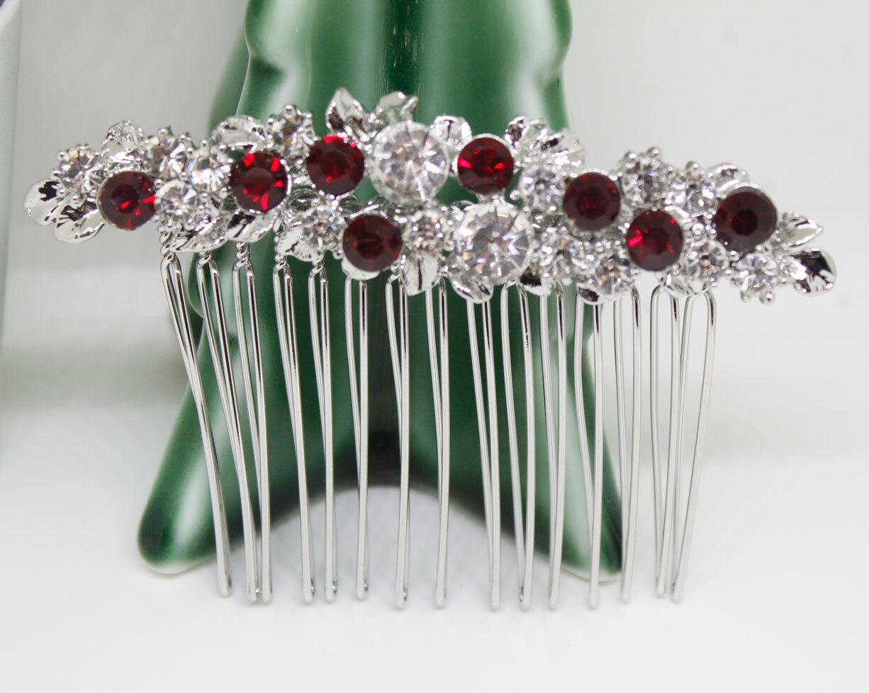 SILVER hair comb bridal wedding RED crystal rhinestone hair accessories h3297