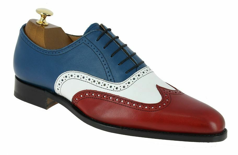 Zapatos de Cuero Zapatos de hombre hecho a mano tono de tres, vestido de hombre zapatos de extremo de ala, para hombres